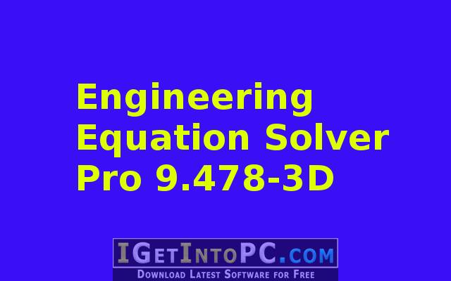 Engineering Equation Solver Pro 9 478-3D Download