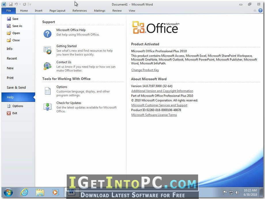 office 2010 download free windows 10