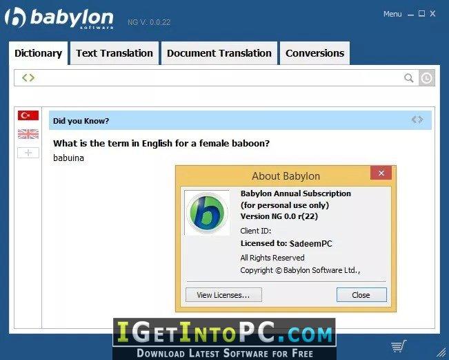 babylon dictionary free download offline